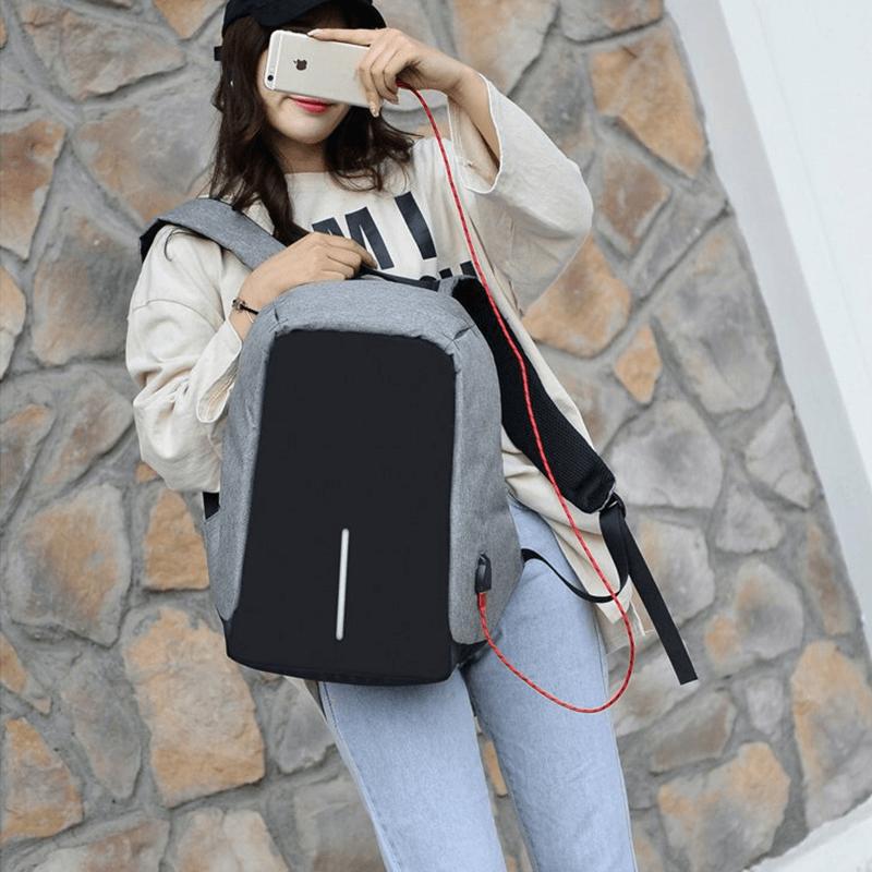 sac à dos étanche et antivol gris