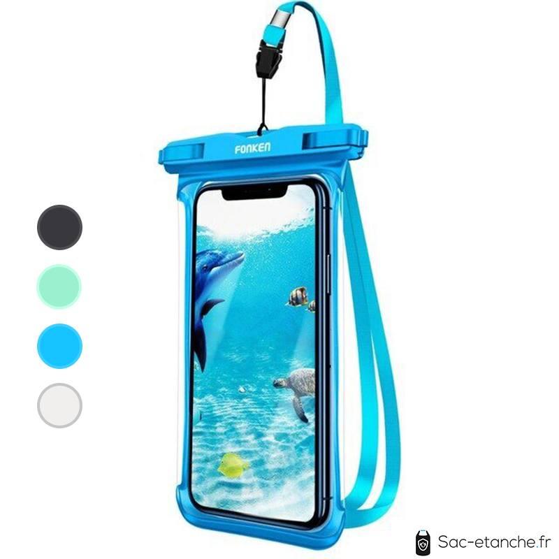 pochette smartphone étanche bleue