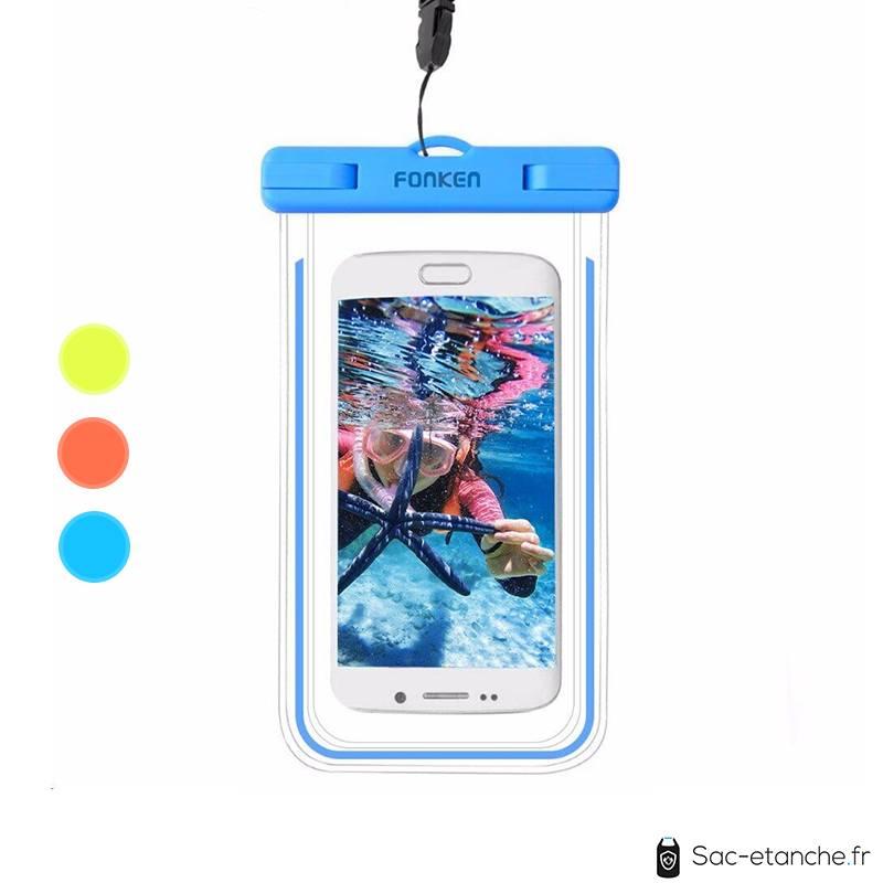 housse smartphone bleu