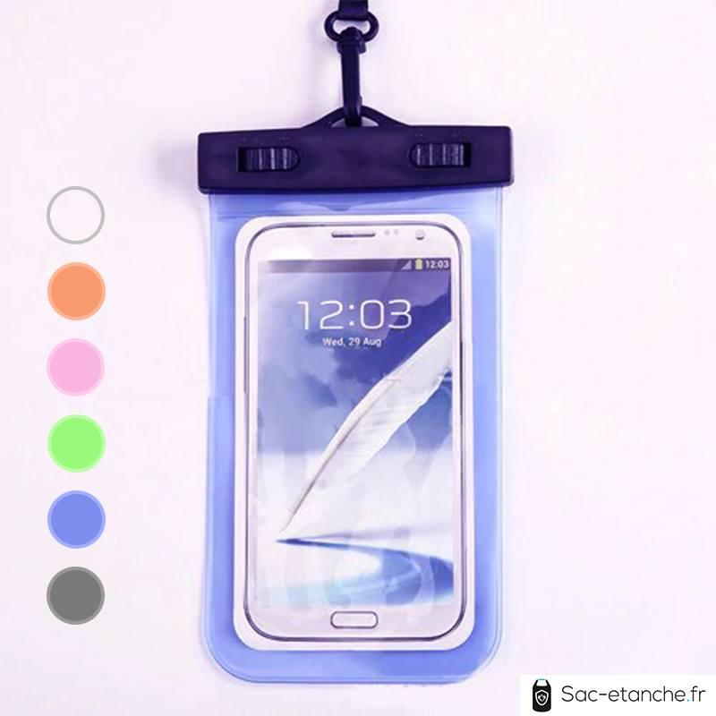 pochette étanche bleue pour téléphone