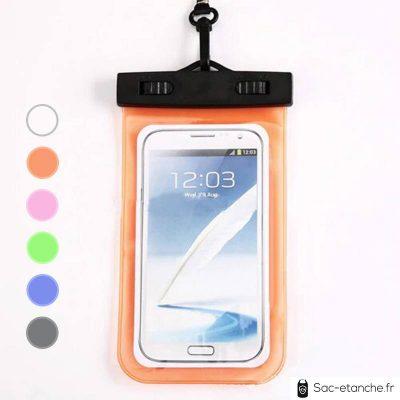 pochette étanche orange pour téléphone