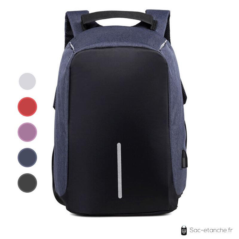 sac à dos étanche et antivol bleu