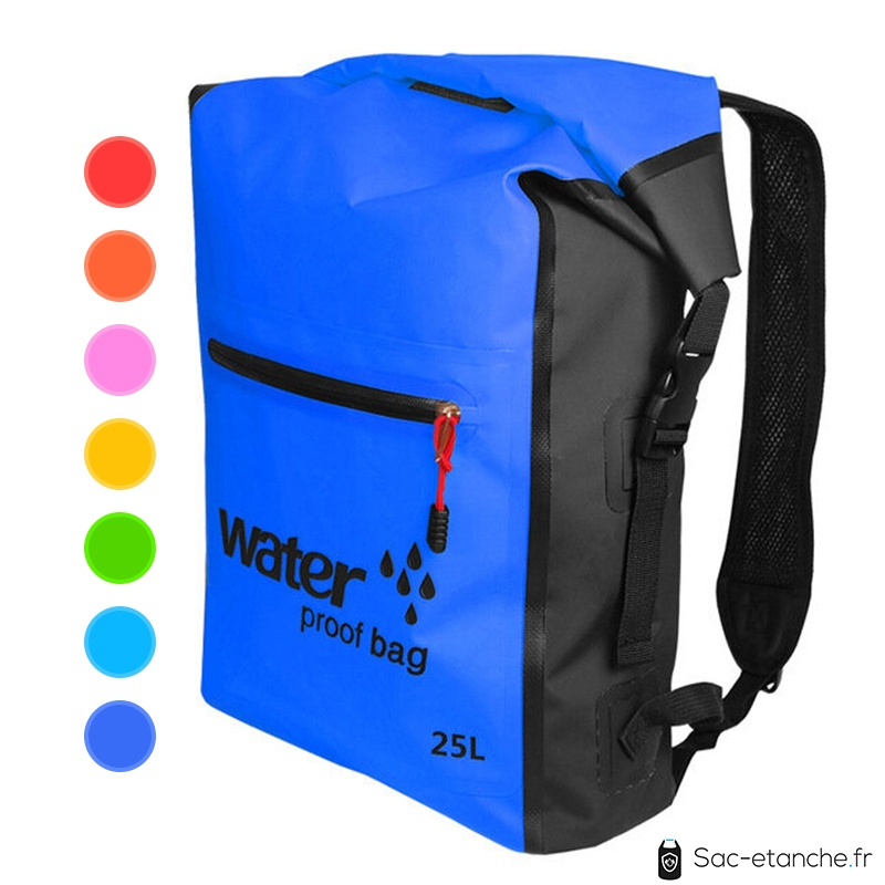 sac à dos étanche 25 litres bleu