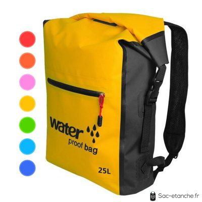 sac à dos étanche 25 litres jaune