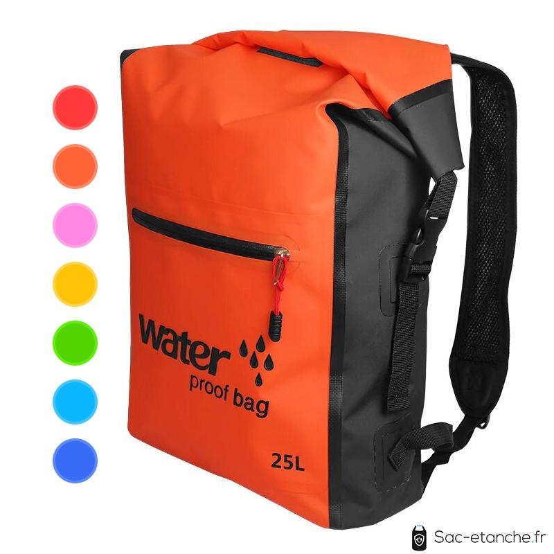 sac à dos étanche 25 litres orange