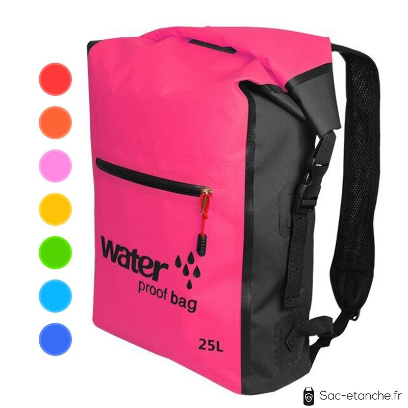 sac à dos étanche 25 litres rose