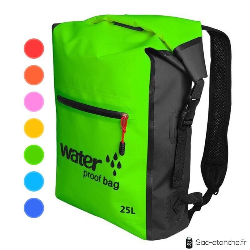 sac à dos étanche 25 litres vert