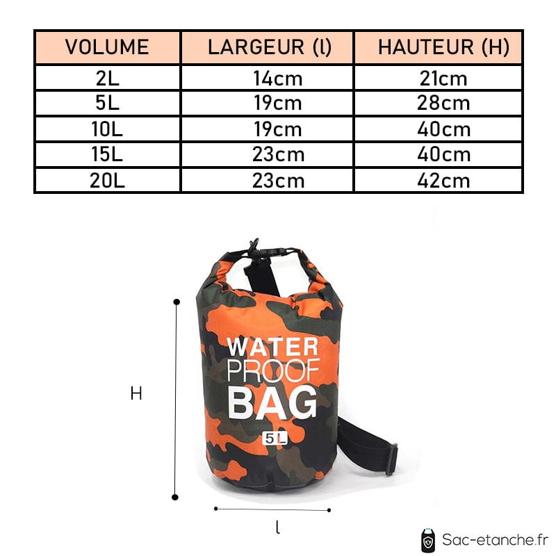 sac étanche orange dimensions