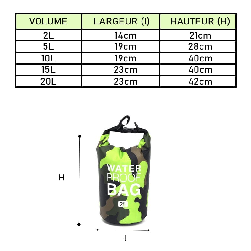 dimensions sac etanche vert