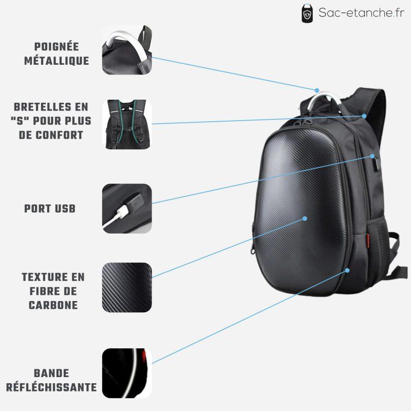 sac moto extensible carbone details
