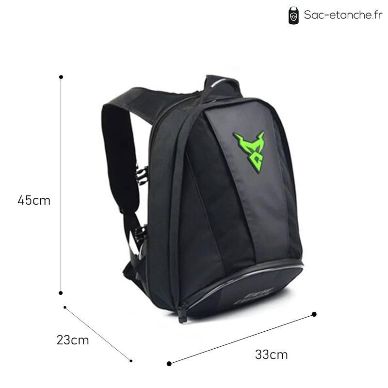 sac moto vert dimensions