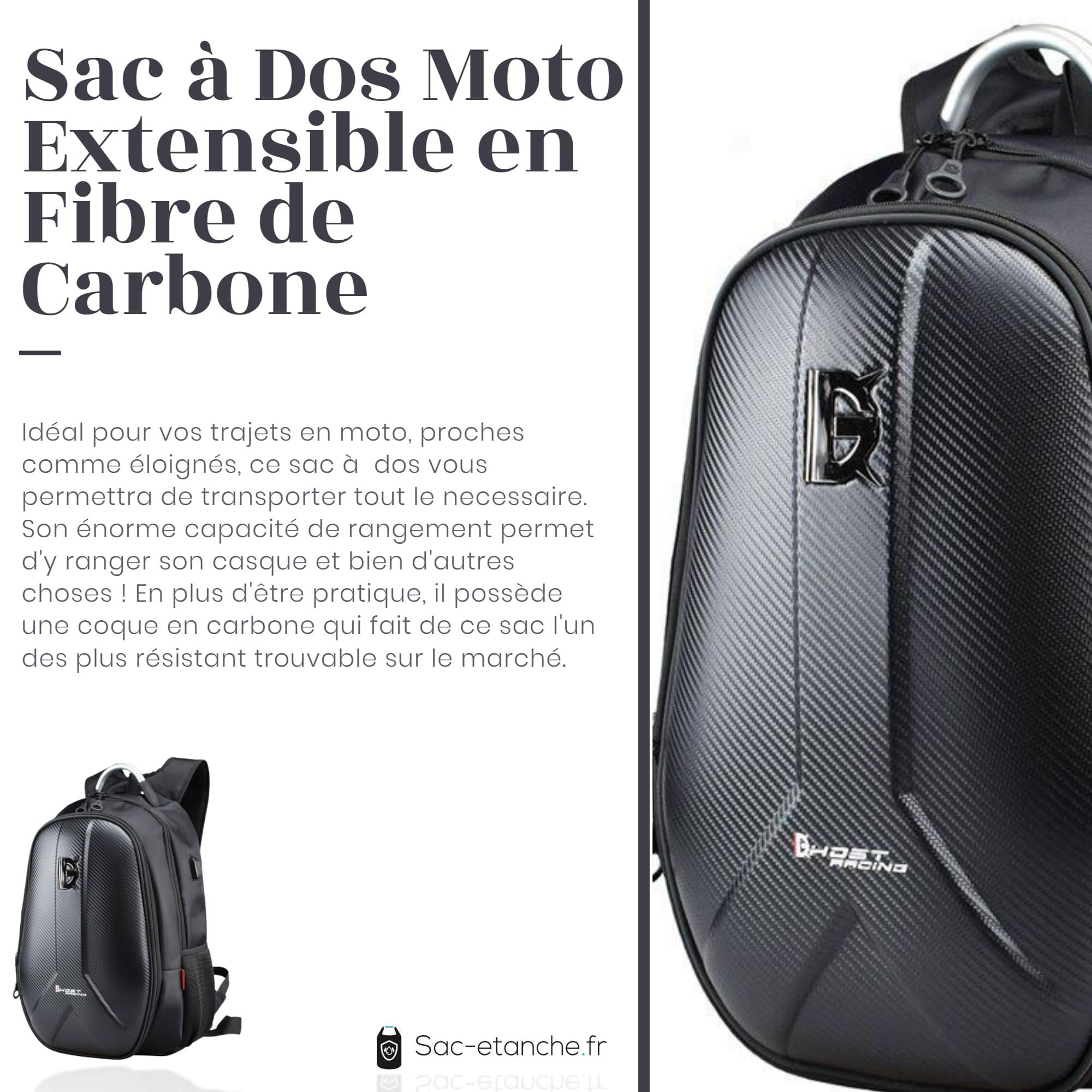 sac moto extensible fibre de carbone