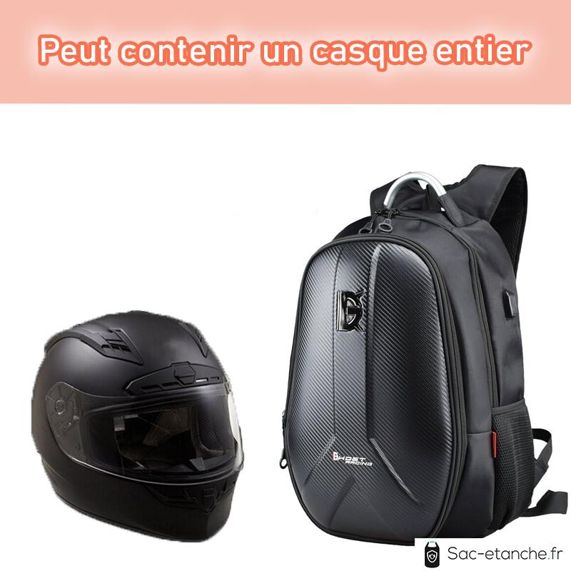 sac moto extensible fibre de carbone casque
