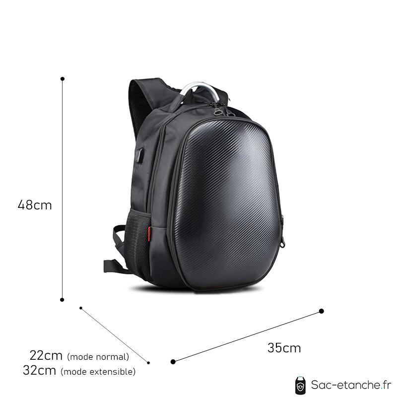 sac moto extensible carbone dimensions